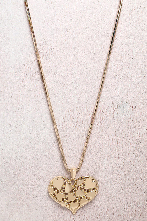 Gold Large Heart Pendant Necklace-SinglePrice