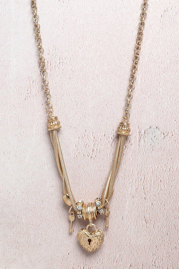 Gold Heart Locket And Key Necklace-SinglePrice