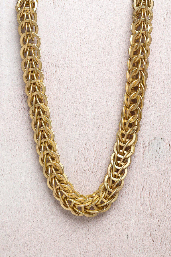 Gold Large Chain Links Short Necklace-SinglePrice