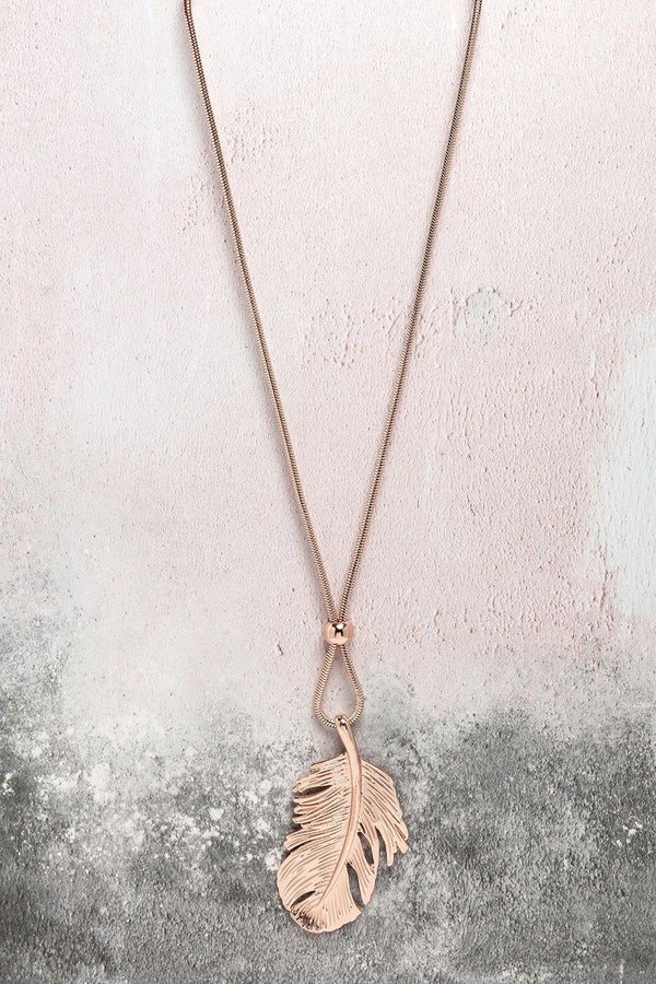 Rose Gold Feather Pendant Longline Necklace-SinglePrice