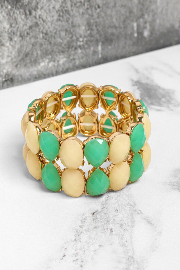 Cream And Green Double Row Stretch Bracelet-SinglePrice