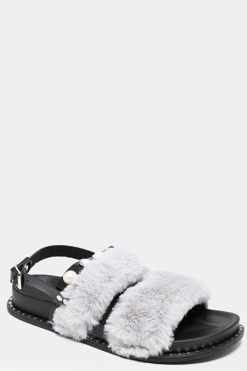 Get Wide Fit Grey Fluffy Twin Straps