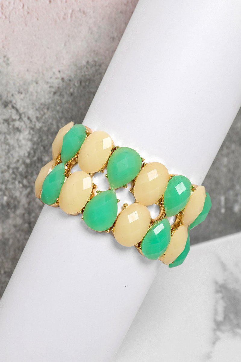 Cream And Green Double Row Stretch Bracelet - SinglePrice