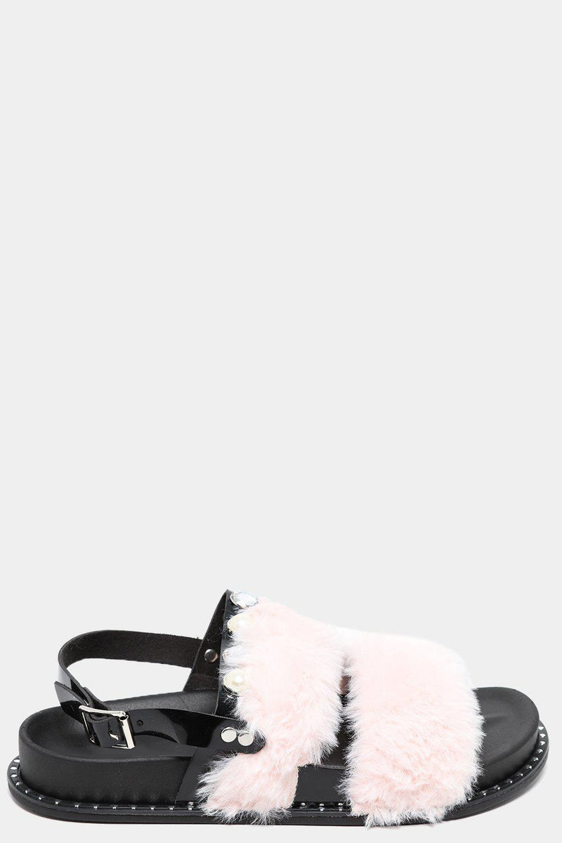 Wide Fit Pink Fluffy Twin Straps Sandals - SinglePrice