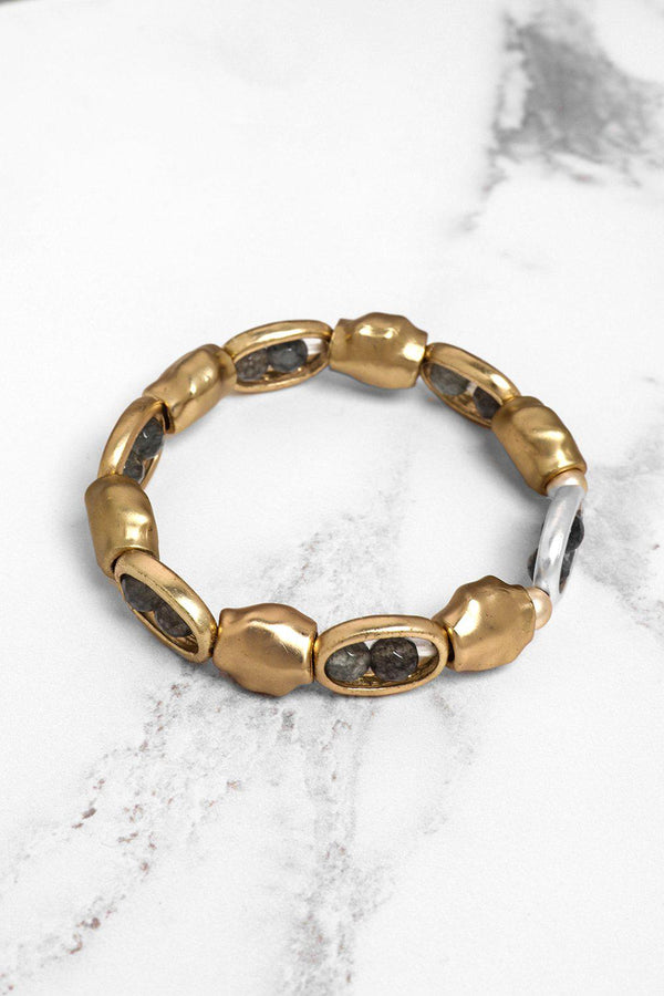 Gold Moulded Beads Stretch Bracelet-SinglePrice