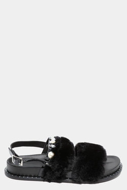 Wide Fit Black Fluffy Twin Straps Sandals - SinglePrice