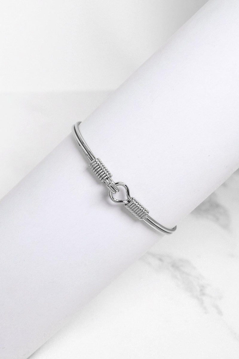 Silver Wire Hook And Eye Bangle - SinglePrice