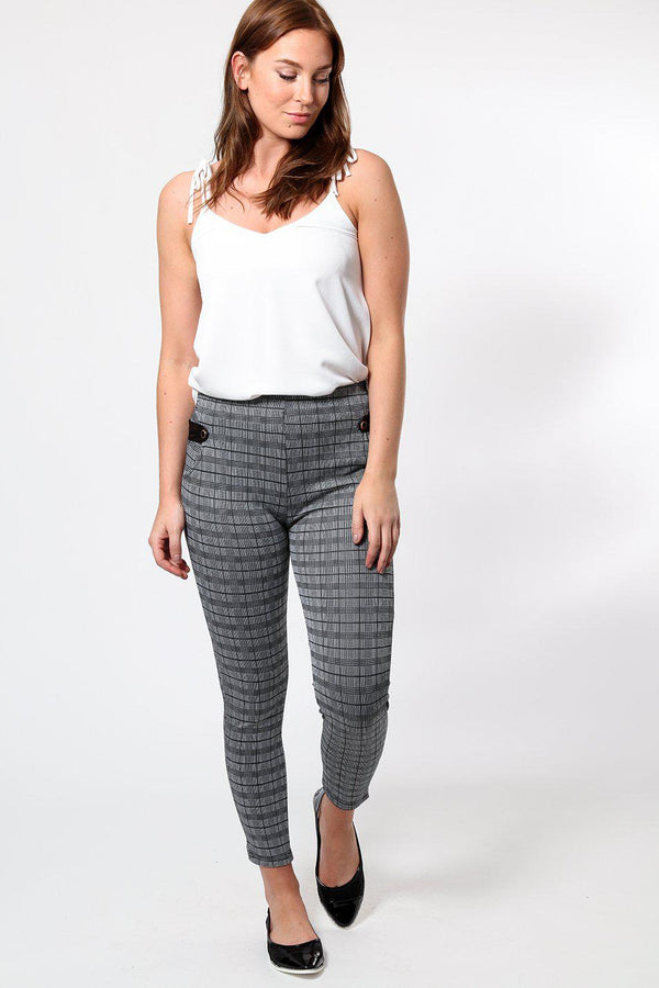 Vegan Leather Tabs Grey Checked Leggings
