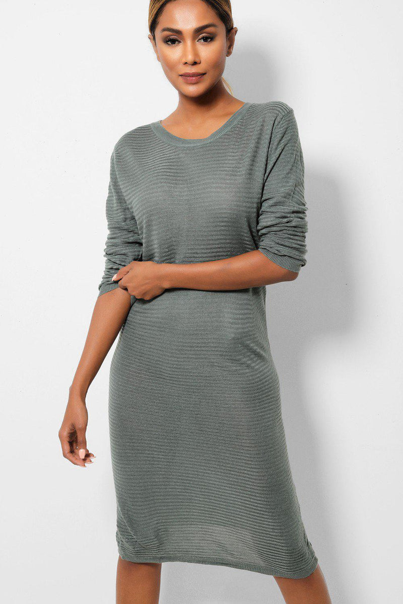 Mint Lightweight Rib Knit Midi Dress - SinglePrice