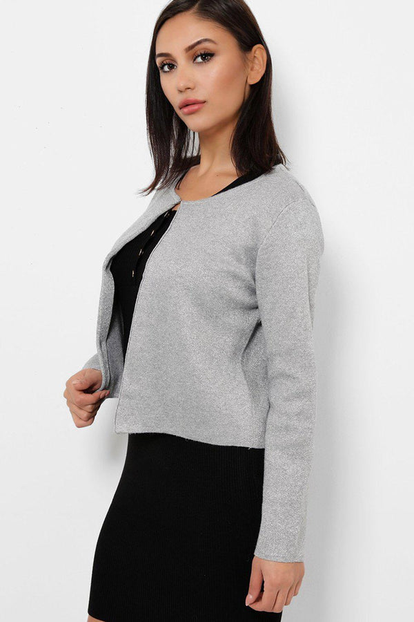 Grey Shimmer Single Top Button Cardigan-SinglePrice