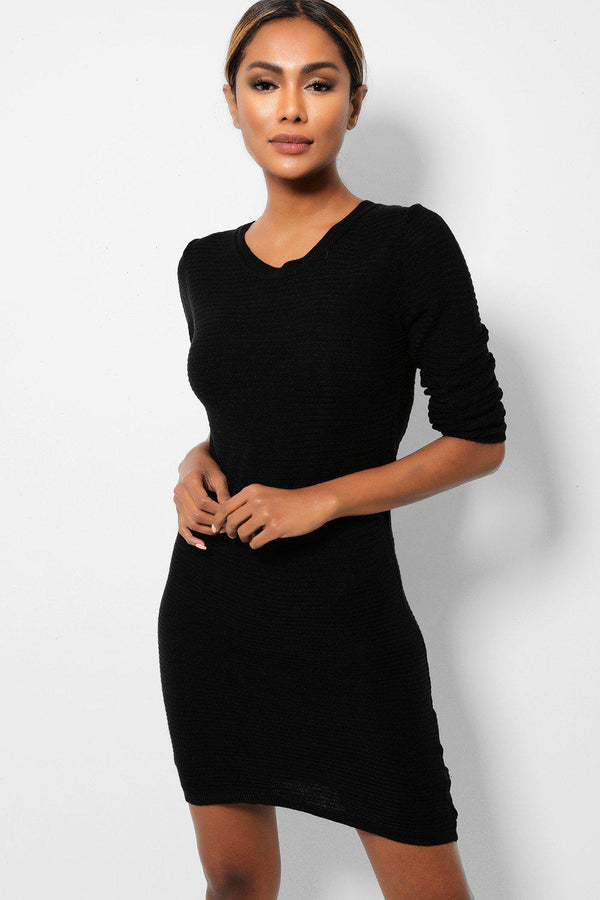 Black Lightweight Rib Knit Midi Dress - SinglePrice