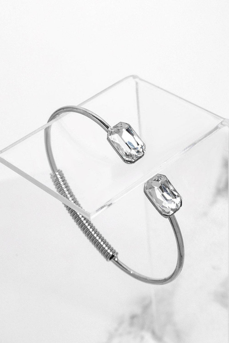 Large Crystals Silver Hinged Cuff Bracelet - SinglePrice
