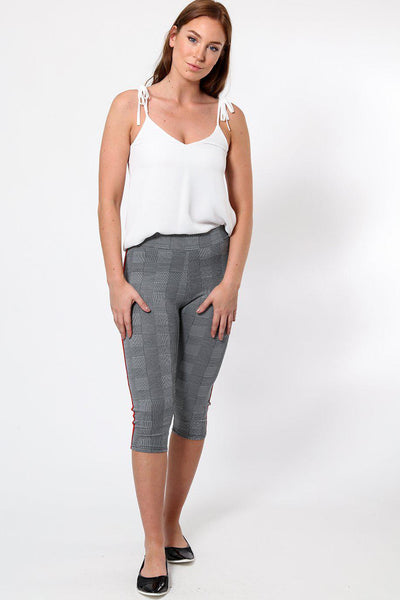 Green and Red Stripe Grey Checked Capri Leggings