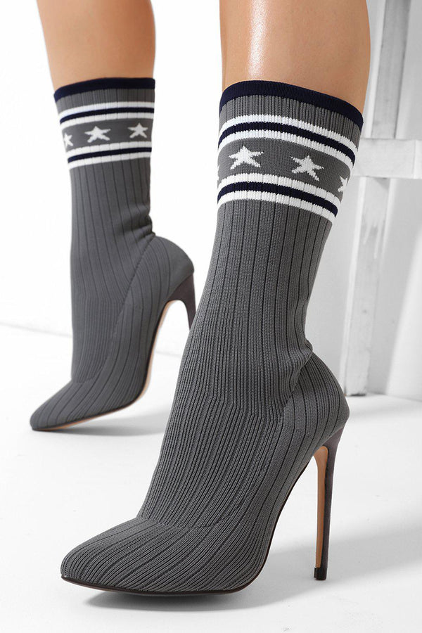 Stars Print Ribbed Knit Grey Stiletto Sock Heels - SinglePrice
