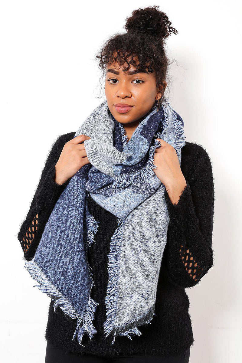 Super Soft Mixed Blues Chunky Scarf - SinglePrice