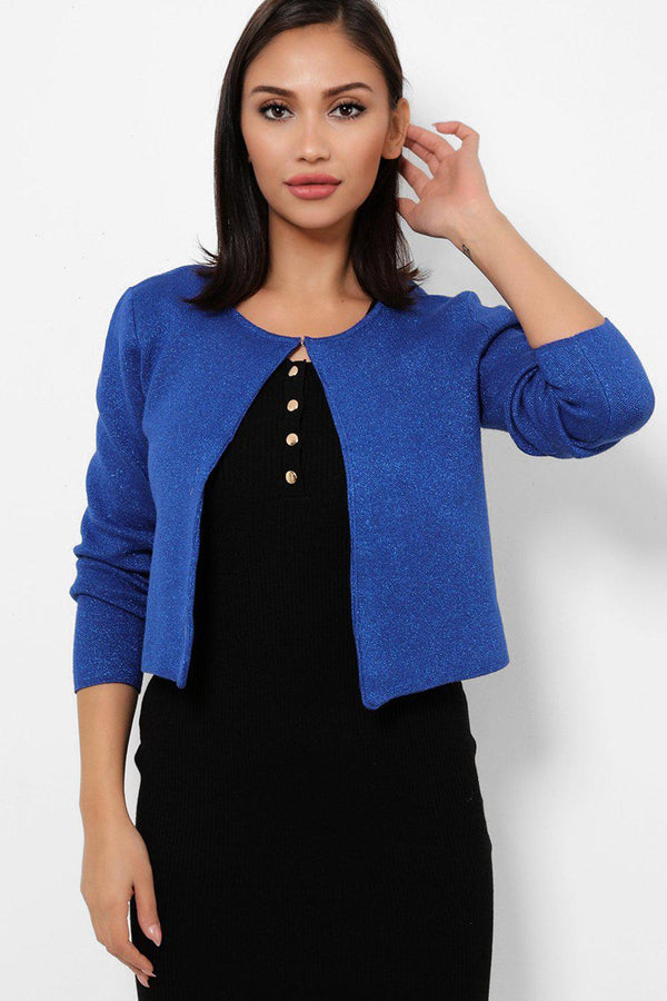 Royal Blue Shimmer Single Top Button Cardigan-SinglePrice