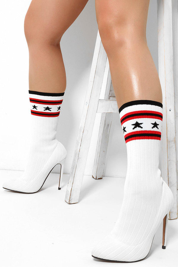 Stars Print Ribbed Knit White Stiletto Sock Heels - SinglePrice