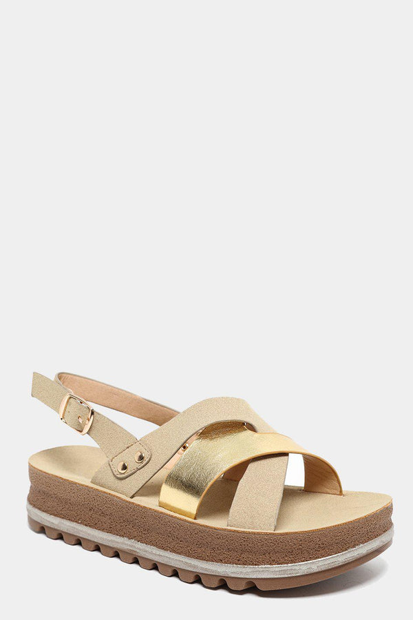 Two Textures Pleated Straps Gold Sandals-SinglePrice