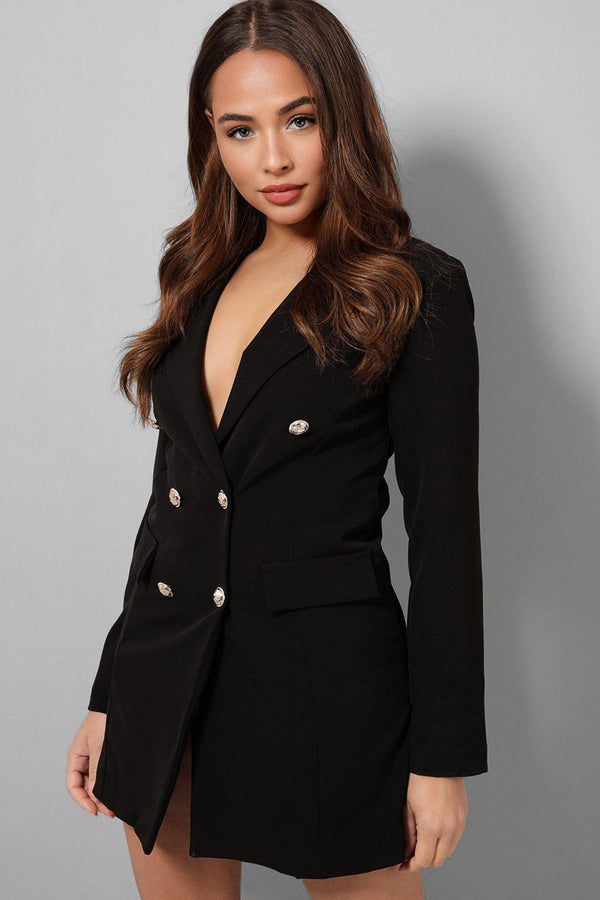 Black Double Breasted Blazer Dress-SinglePrice