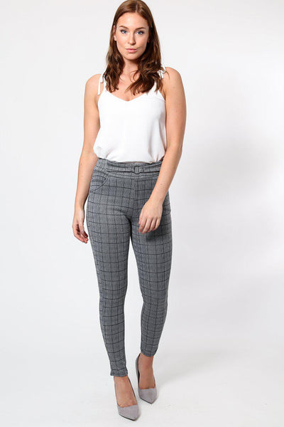 Round Buckle Grey Checked Leggings