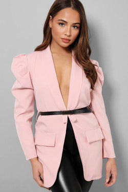 Pink Self-Belt Puff Sleeves Longline Blazer - SinglePrice