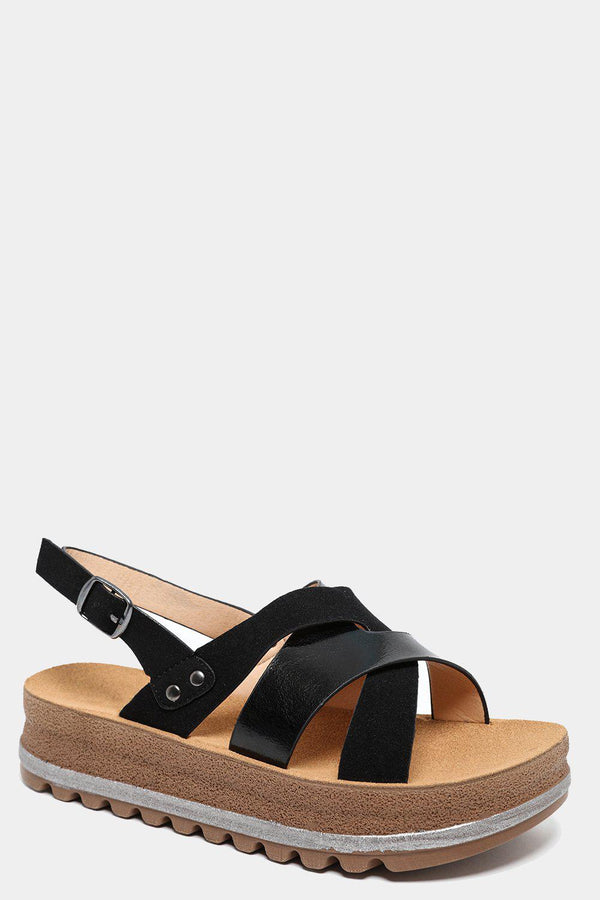 Two Textures Pleated Straps Black Sandals-SinglePrice