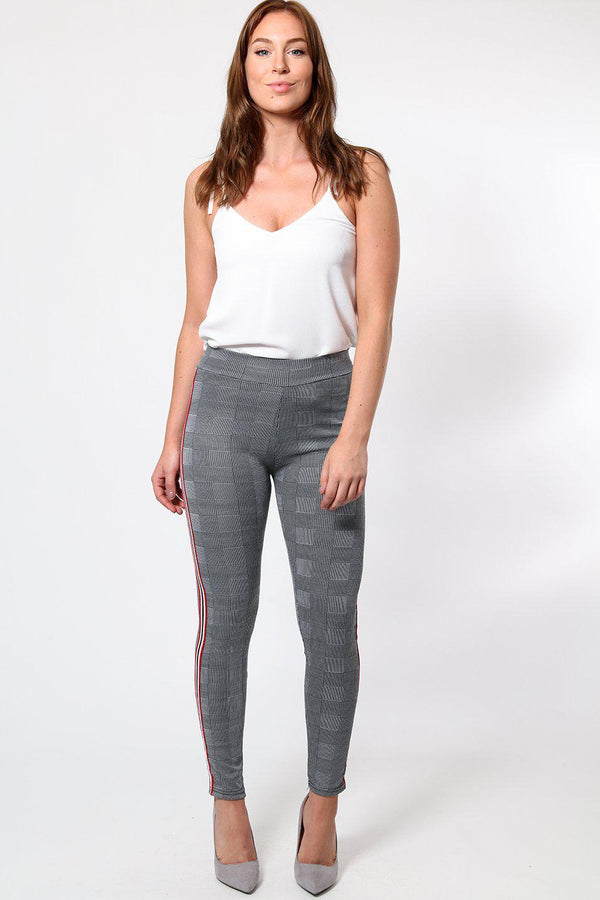 Multicolour Stripe Grey Checked Leggings