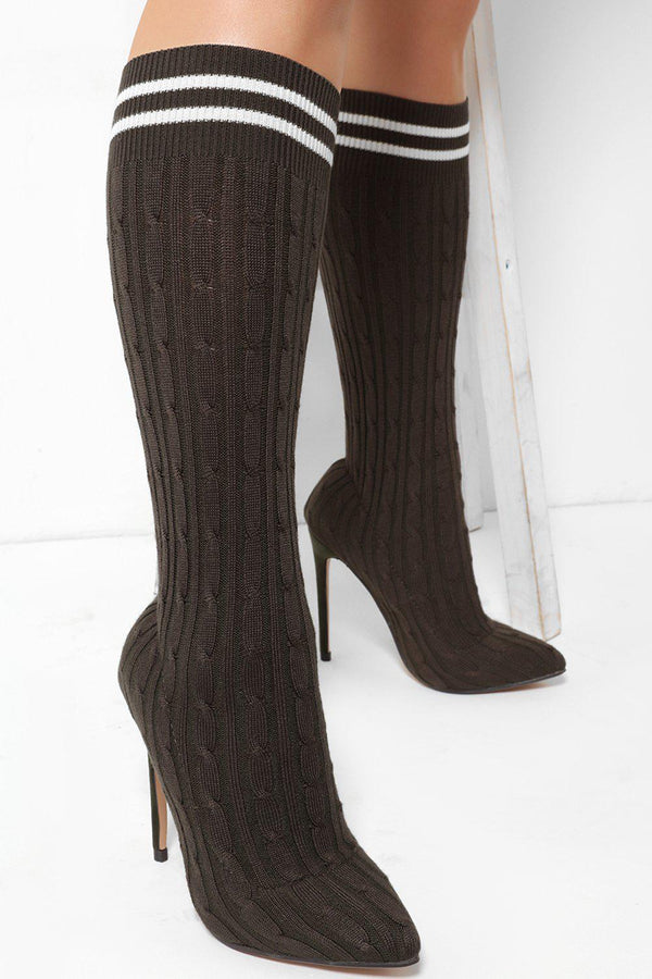 Army Green Braid Knit Stiletto Heels - SinglePrice
