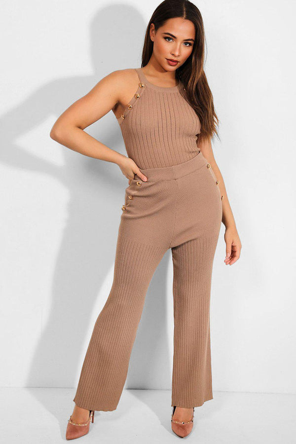 Camel Knitted Button Details 2 Piece Set - SinglePrice