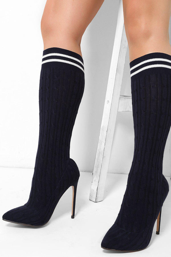 Dark Blue Braid Knit Stiletto Heels - SinglePrice