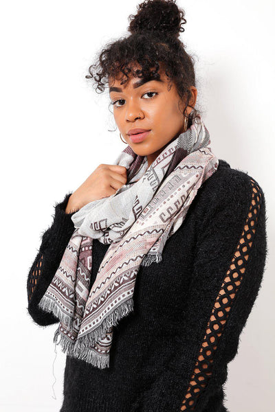 Taupe Tribal Pattern Scarf-SinglePrice