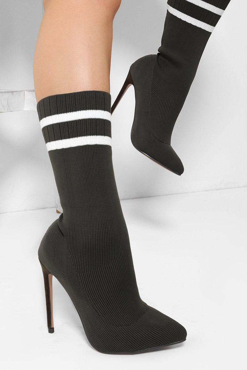 Army Green Twin Stripe Knitted Sock Stiletto Heels - SinglePrice