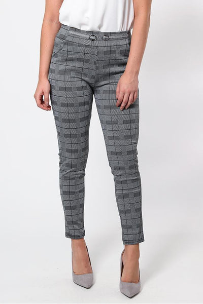 Double Buckle Checked Trousers-SinglePrice