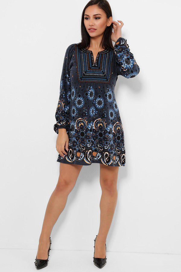 Blue Embroidered Neck Paisley Print Fleece Dress-SinglePrice