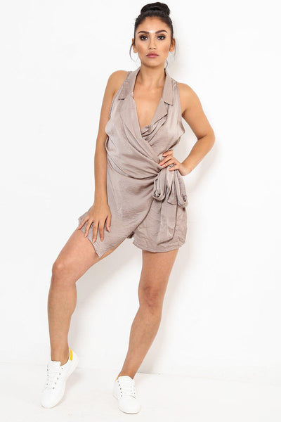 Sleeveless Taupe Wrap Playsuit-SinglePrice