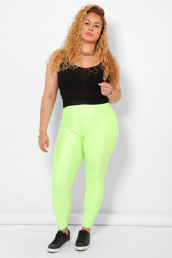 High Waisted High Shine Neon Green Leggings - SinglePrice