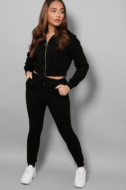 Black Exposed Zip Crop Top Ant Trousers 2 Piece Tracksuit - SinglePrice