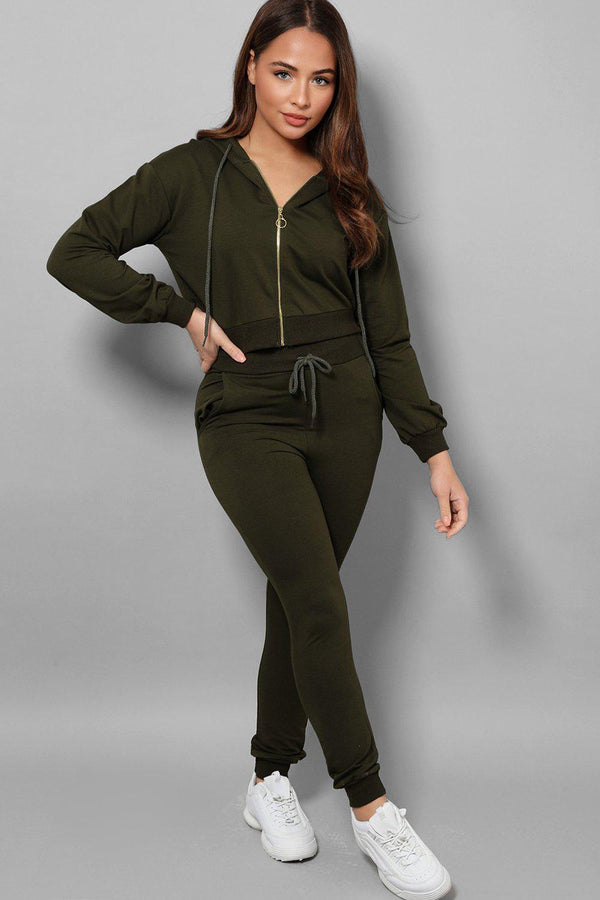 Khaki Exposed Zip Crop Top Ant Trousers 2 Piece Tracksuit-SinglePrice