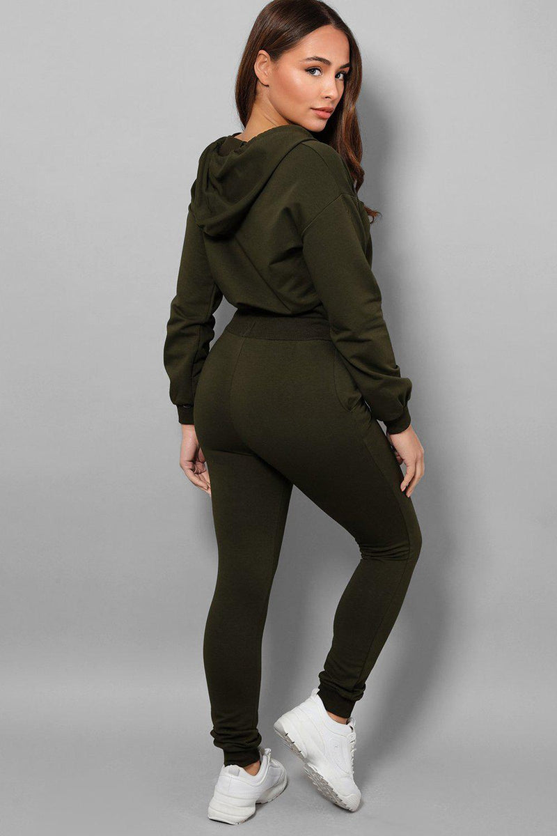 Khaki Exposed Zip Crop Top Ant Trousers 2 Piece Tracksuit - SinglePrice