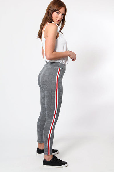 White Red Stripe Checked Leggings-SinglePrice