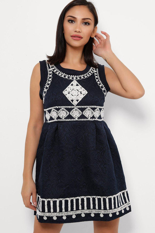Beige Embroidery Detailed Navy Mini Skater Dress-SinglePrice
