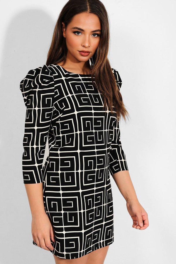 Black Greek Key Print Puff Sleeves Dress - SinglePrice
