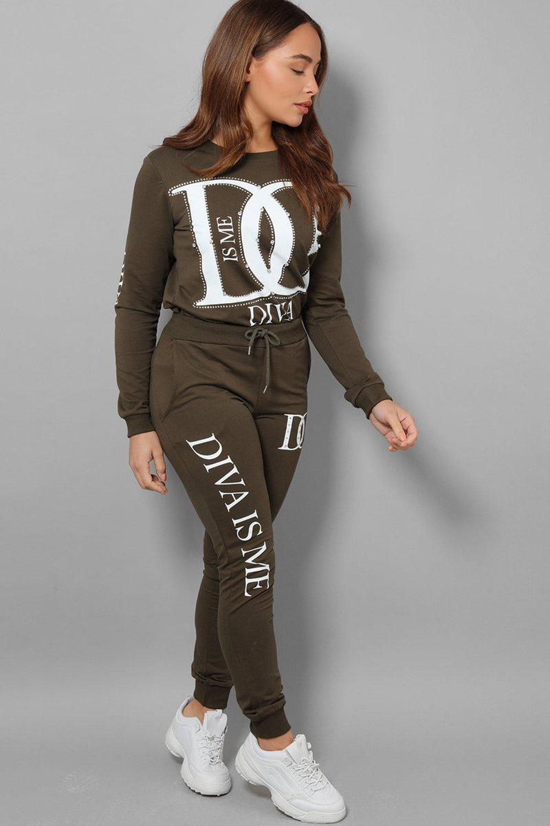 Khaki Slogan Crystal Details Two Piece Tracksuit - SinglePrice