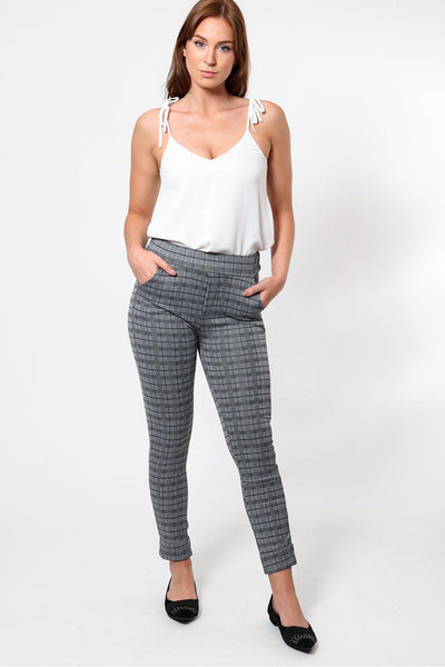 Dark Grey Checked Trousers-SinglePrice