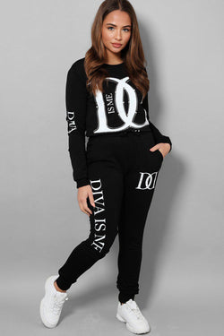 Black Slogan Crystal Details Two Piece Tracksuit - SinglePrice