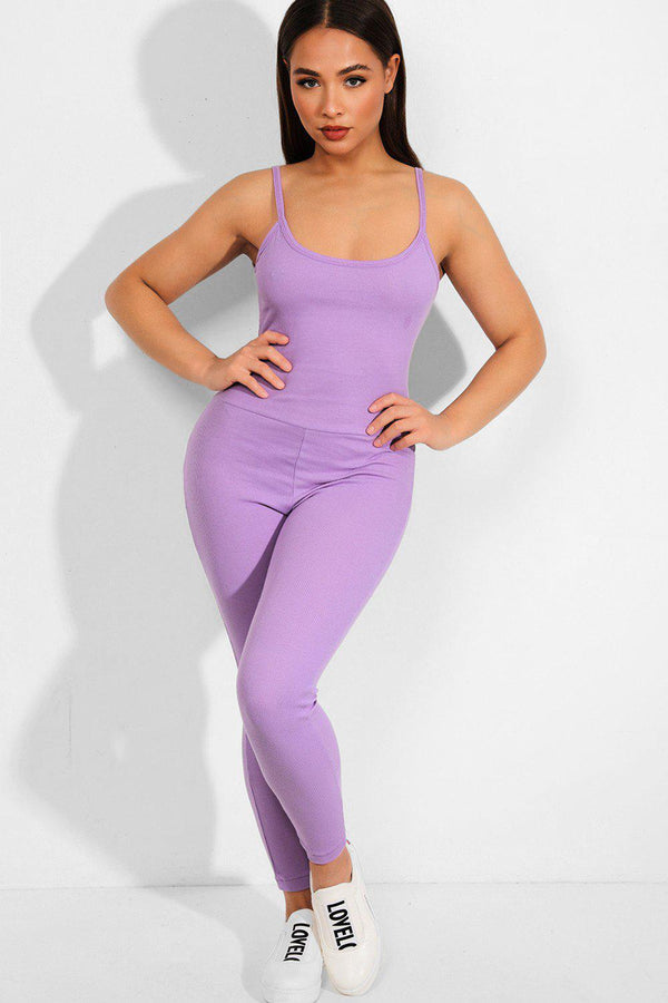 Lilac Ribbed Open Back Catsuit - SinglePrice