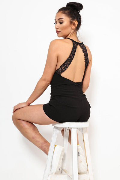 Lace Details Open Back Black V-Neck Playsuit-SinglePrice