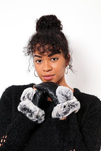 Faux Leather & Fur Trim Black Gloves-SinglePrice