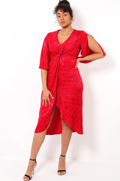 Star Pattern Open Sleeve Red Dress-SinglePrice