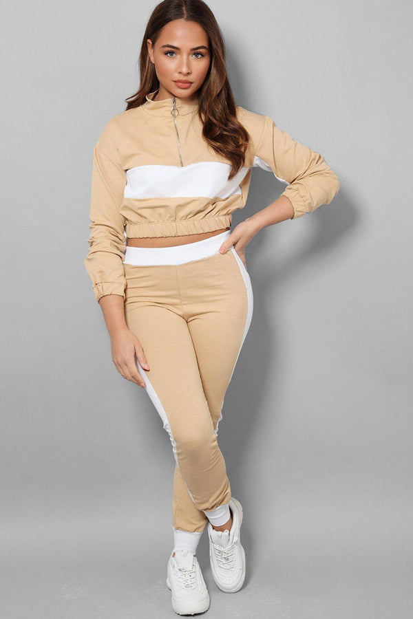 White Racer Stripe Beige Two Piece Tracksuit-SinglePrice